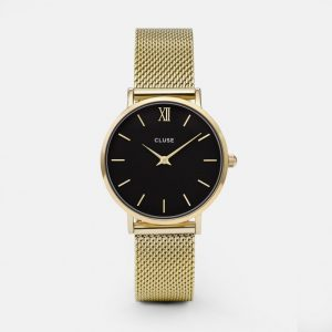 montre cluse minuit mesh gold black CL30012