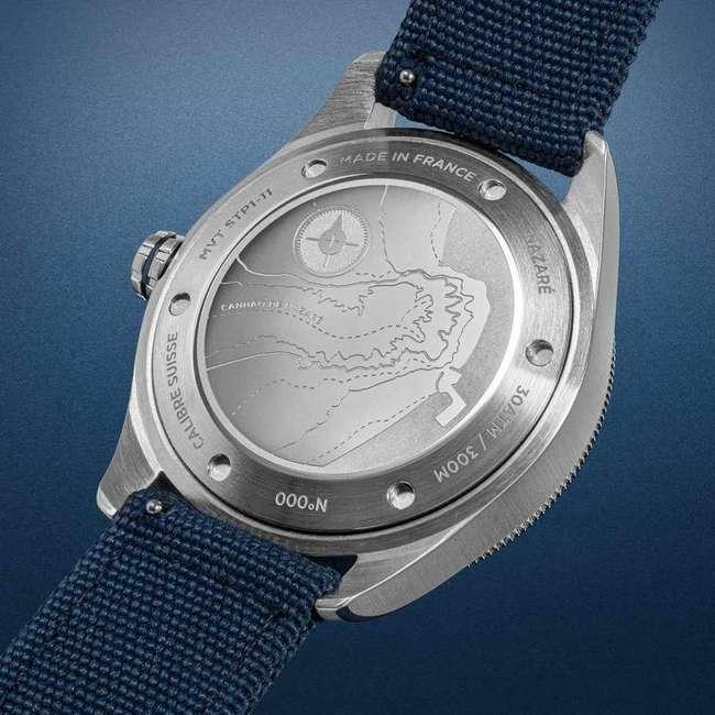 arrière montre plongee concordia nazare 40mm bleu